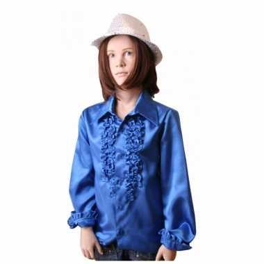 Vintage rouches blouse kobalt voor meisjes