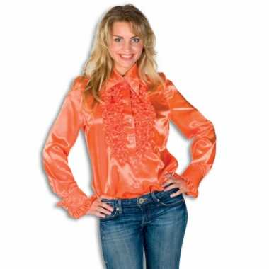 Vintage rouches blouse oranje dames