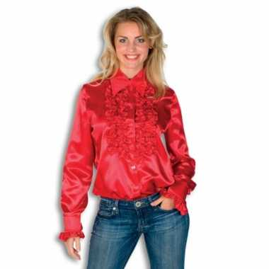 Vintage rouches blouse rood dames