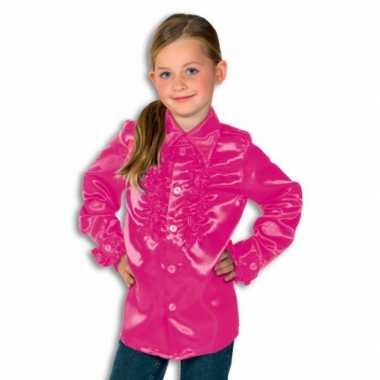 Vintage rouches blouse roze voor jongens