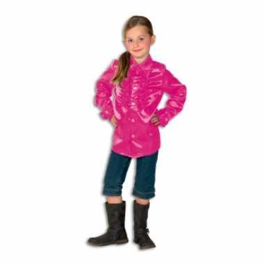 Vintage rouches blouse roze voor meisjes