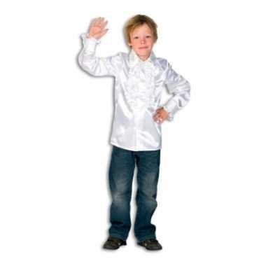 Vintage rouches blouse wit voor jongens