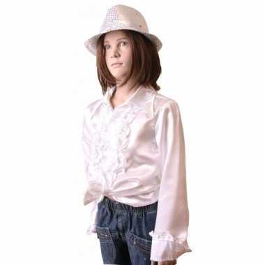Vintage rouches blouse wit voor meisjes