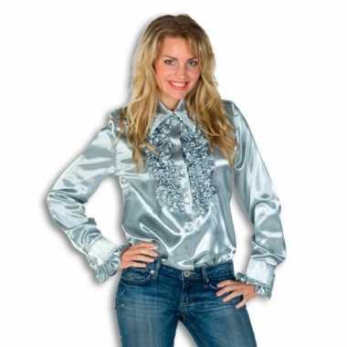 Vintage rouches blouse zilver dames