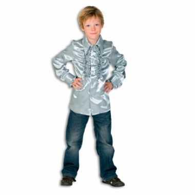 Vintage rouches blouse zilver voor jongens