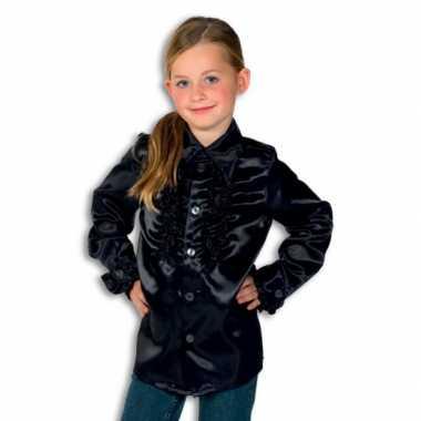 Vintage rouches blouse zwart voor jongens
