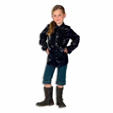 Vintage rouches blouse zwart voor meisjes
