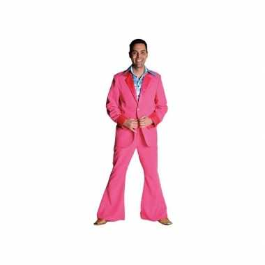 Vintage roze 70's kostuum voor heren