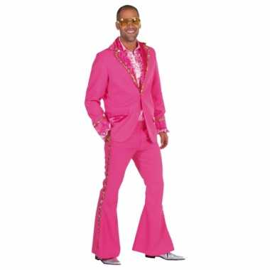 Vintage roze bling bling kostuum heren