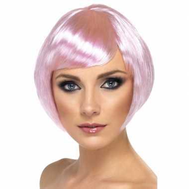 Vintage roze damespruik kort haar