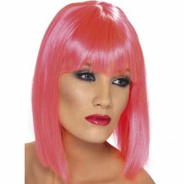 Vintage roze pruik dames kort haar