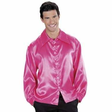 Vintage roze satijnen blouse