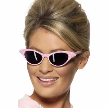 Vintage roze zonnebril met diamantjes