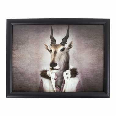 Vintage schootkussen/laptray zwart met mr. antilope print 33 x 43 cm