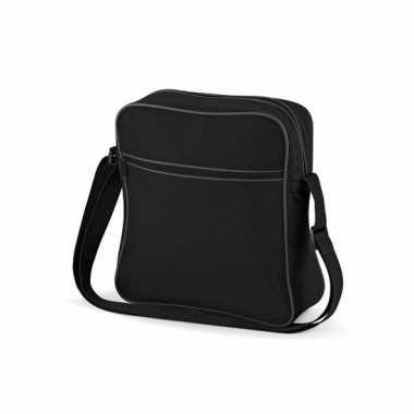 Vintage schoudertas met voorvakje zwart grijs
