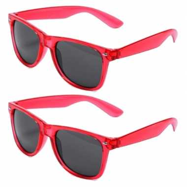 Vintage set van 12x stuks rode retro model party zonnebril voor volwassenen