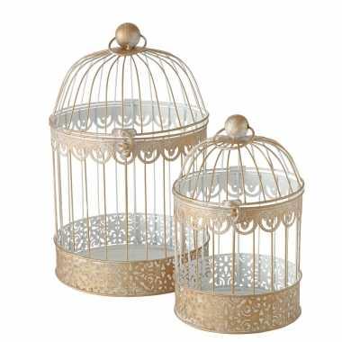 Vintage set van 2x home decoratie vogelkooien goud 25 x 40 cm en 19 x 30 cm