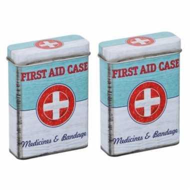 Vintage set van 2x stuks pleisters/medicijnen bewaarblikjes first aid retro print groen / wit 7 x 3 x 9 cm