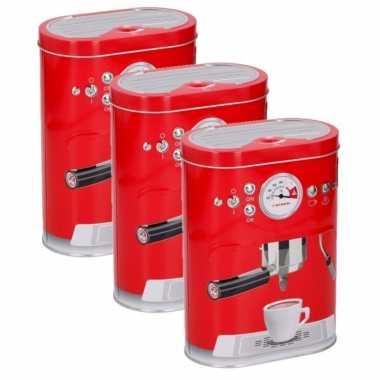 Vintage set van 3x stuks koffie bewaarblikken rood 17 cm