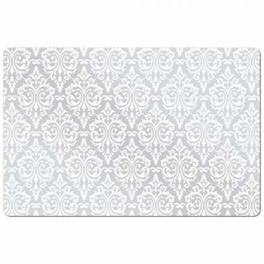 Vintage set van 4x stuks rechthoekige placemats met witte barok print 43,5 x 28,5 cm
