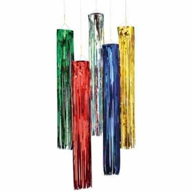 Vintage set van 5x stuks glitter party decoratie hangers rood 80 cm