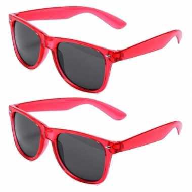 Vintage set van 8x stuks rode retro model party zonnebril voor volwassenen
