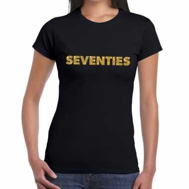 Vintage seventies goud glitter t-shirt zwart dames