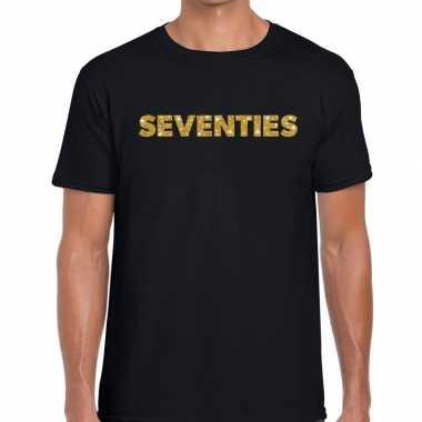 Vintage seventies gouden glitter tekst t-shirt zwart heren