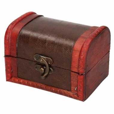 Vintage sieraden kistje roodbruin voor kinderen 11 cm