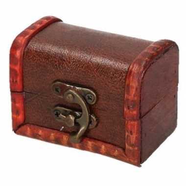 Vintage sieraden kistje roodbruin voor kinderen 8 cm