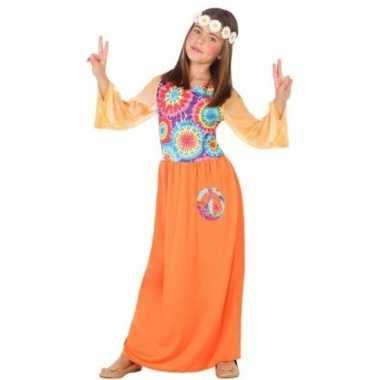 Vintage sixties/hippie verkleed jurk oranje voor meisjes