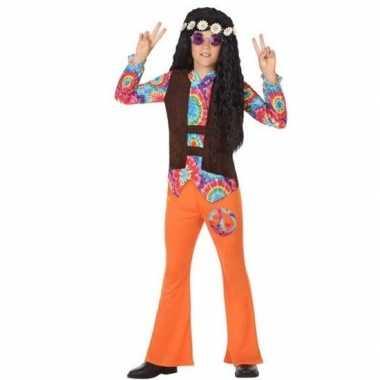 Vintage sixties/hippie verkleed kostuum oranje voor jongens