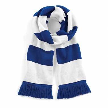 Vintage sjaal met brede streep blauw/wit