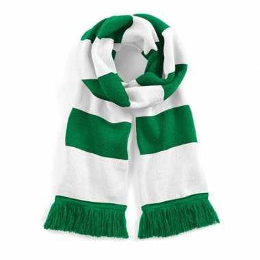 Vintage sjaal met brede streep groen/wit