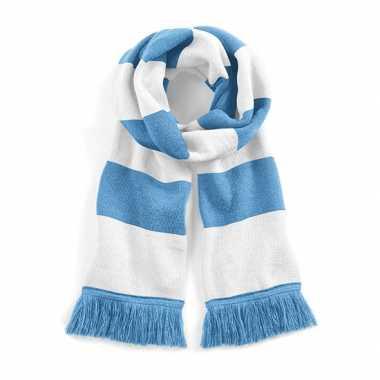 Vintage sjaal met brede streep lichtblauw/wit