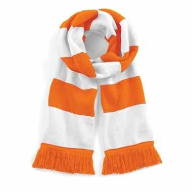 Vintage sjaal met brede streep oranje/wit