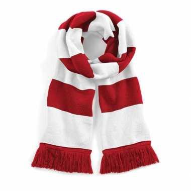 Vintage sjaal met brede streep rood/wit