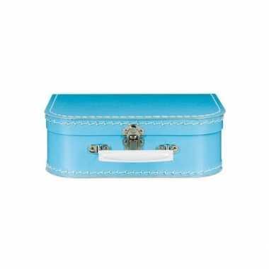 Vintage speelgoed koffertje blauw 25 cm