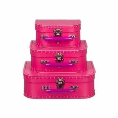 Vintage speelgoed koffertje fuchsia roze 25 cm