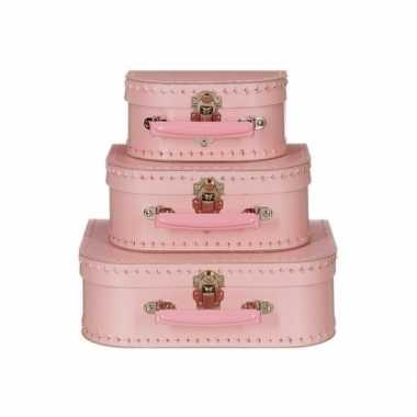 Vintage speelgoed koffertje licht roze 20 cm