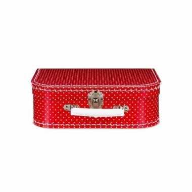 Vintage speelgoed koffertje rood met witte stippen 25 cm