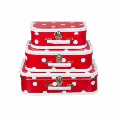 Vintage speelgoed koffertje rood polka dot 25 cm