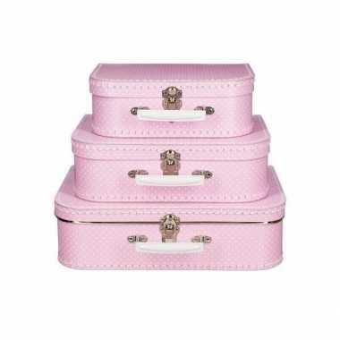 Vintage speelgoed koffertje roze met stippen wit 25 cm