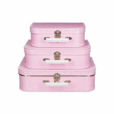 Vintage speelgoed koffertje roze met stippen wit 30 cm