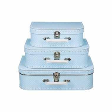 Vintage speelgoedkoffertje licht blauw met witte stipjes 35 cm
