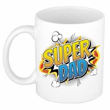 Vintage super dad cadeau mok / beker wit pop-art / cartoon stijl 300 ml