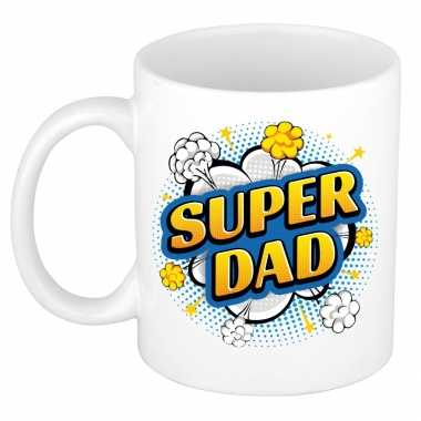 Vintage super dad cadeau mok / beker wit pop-art stijl 300 ml