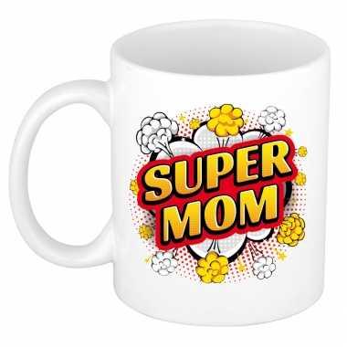 Vintage super mom cadeau mok / beker wit pop-art stijl 300 ml