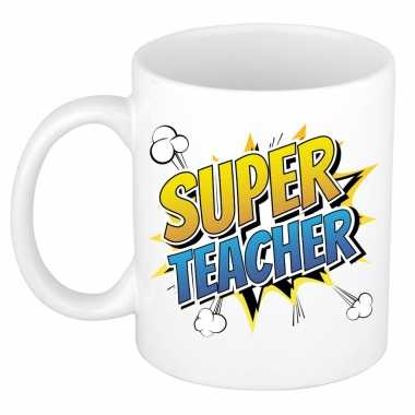 Vintage super teacher cadeau mok / beker wit pop-art 300 ml