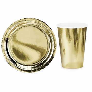 Vintage tafel dekken feestartikelen goud kleur 16x bordjes/16x drink bekers